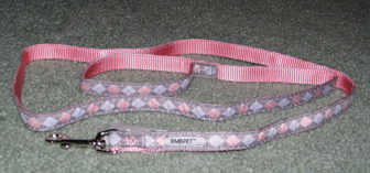 Pink and Grey Argyle Leash