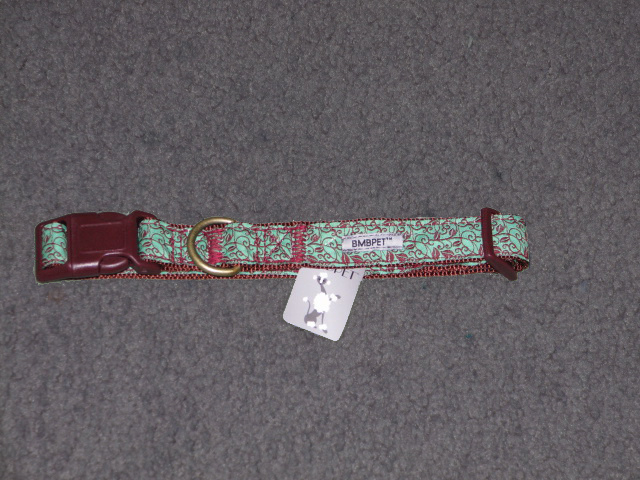 Mint green collar with chocolate brown vine pattern.